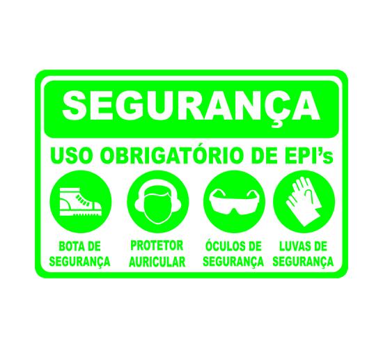 """f1eb42da5c7fe Placa """"Segurança Uso Obrigatório de EPI s"""" – Uai Placas Juiz de Fora"""